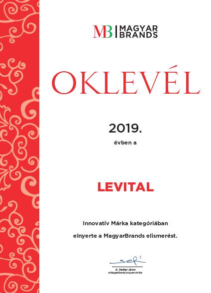 Levital innovatív márka oklevél
