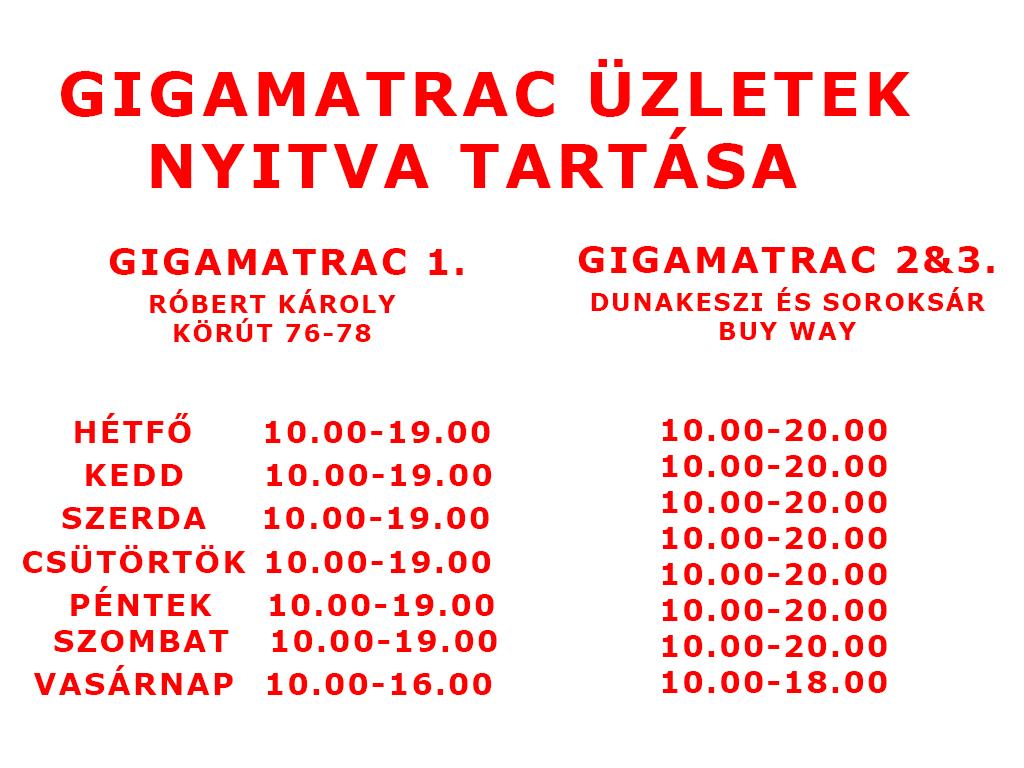 Gigamatrac nyitva tartás 2016.04.